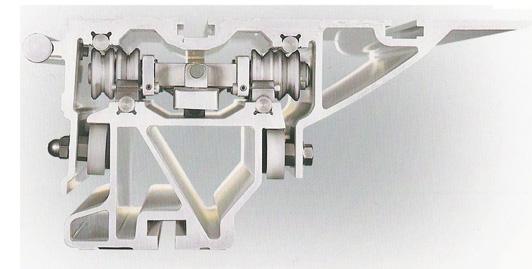 Carro deslizante com 8 rolos, 400mm de largura, comprimento standard de 3200mm ou 3800/4300/5000mm a pedido