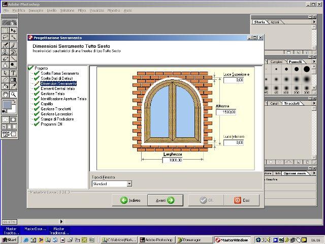 Configuração de todas as partes que constituem uma janela