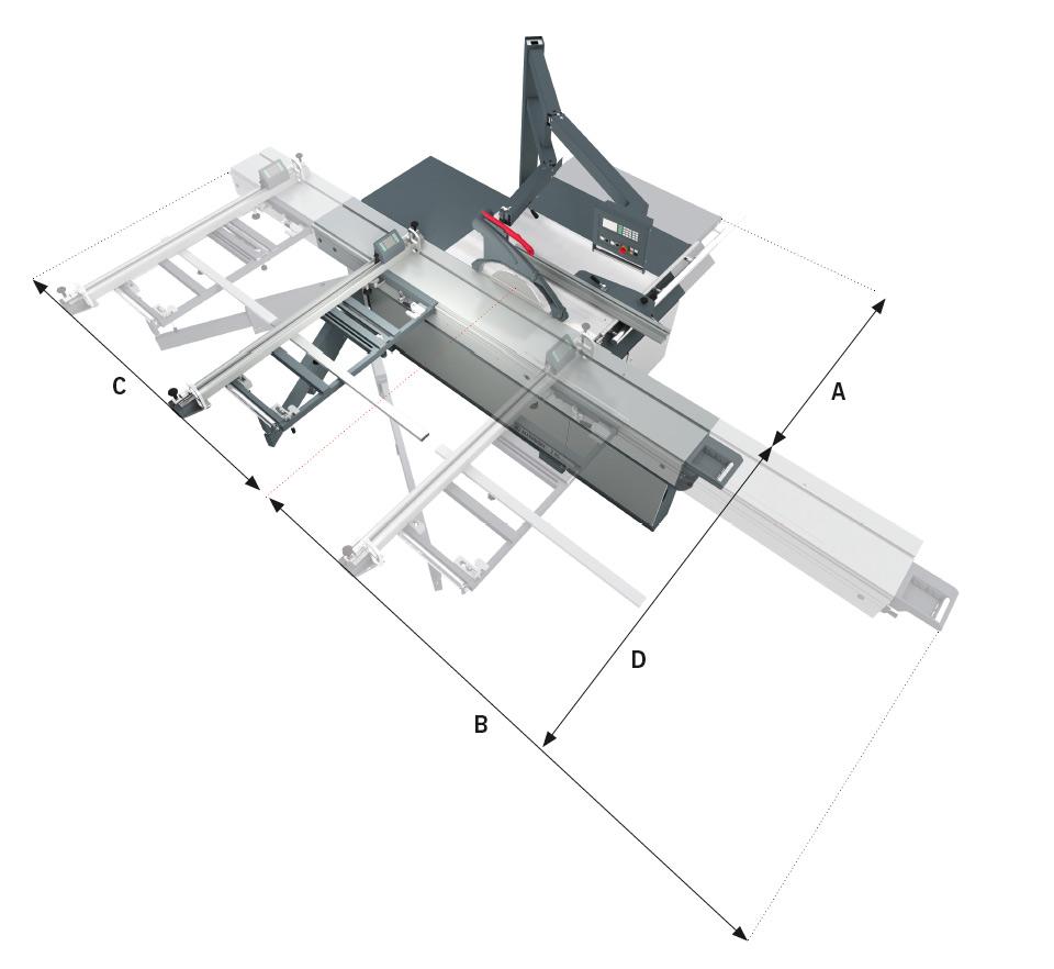 A - Ajuste manual: Largura de corte + 280 mm | Ajuste motorizado: Largura de corte + 360 mm B - Comprimento da mesa + 360 mm C - Comprimento da mesa + 290 mm D - Cerca de corte transversal: 1.890-max. 3.420 mm